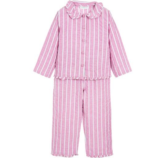 Girls pink spotty pyjamas by Turquaz with contrasting frills on the collar, hem and ankle cuffs. The fabric is softly woven cotton, and it is an adorable traditional style, with a comfortable roomy shape. Model: Height 103cm (average 4 years) Size of pyjamas shown in the photo: 4-5 years