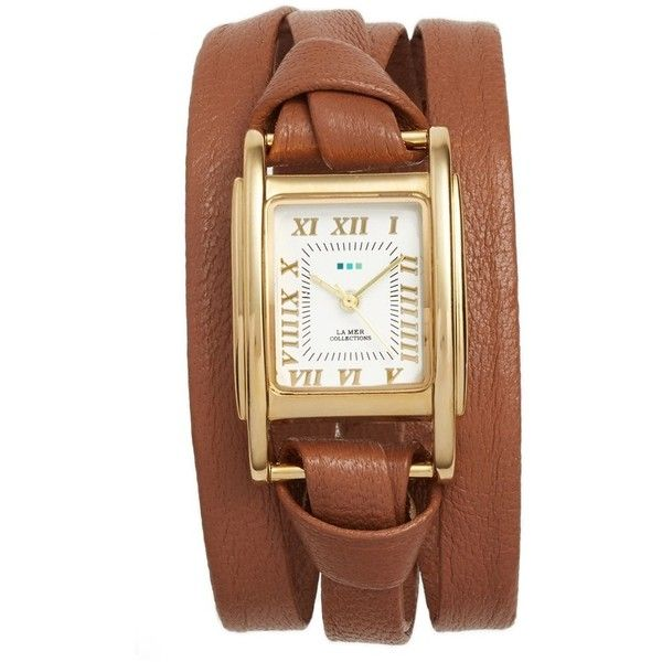 Women's La Mer Collections 'Milwood' Leather Wrap Watch, 35Mm ($84) ❤ liked on Polyvore featuring jewelry, watches, wrap watches, leather strap watches, leather-strap watches, leather jewelry and square watches