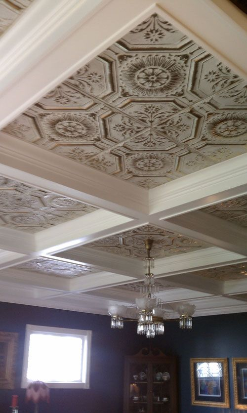Tin ceiling with block partitions -- for my new dining room but tin will have to be a different color.