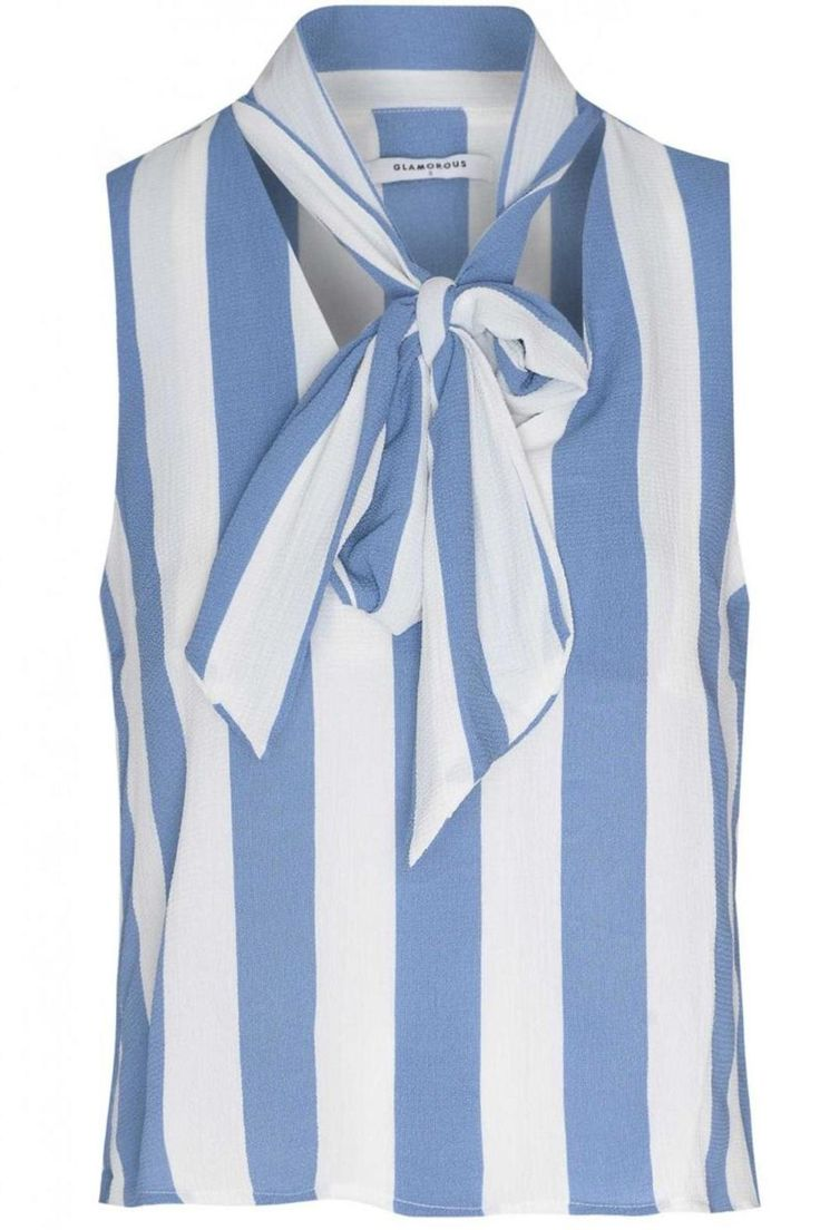 """Blue and white stripe sleeveless pussybow blouse. Floaty chiffon fabric with on-trend pussybow detail. Perfect with jeans and wedges for a casual summer look or with a pencil skirt for desk to cocktail style.  Length: 55cm / 21.6""""  Striped Pussybow Blouse by Pink Poodle Boutique. Clothing - Tops - Blouses & Shirts Clothing - Tops - Sleeveless Glasgow Scotland United Kingdom"""