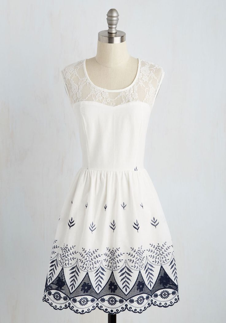 Until Next Time, Folk! Dress. Though you bid farewell to folk festival friends, you carry the shows woodland whimsy with you in this white dress! #white #modcloth