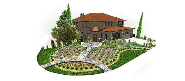The sidewalk strip in front of your home can create a design conundrum. Read our article to see how landscaping software for Mac can help.