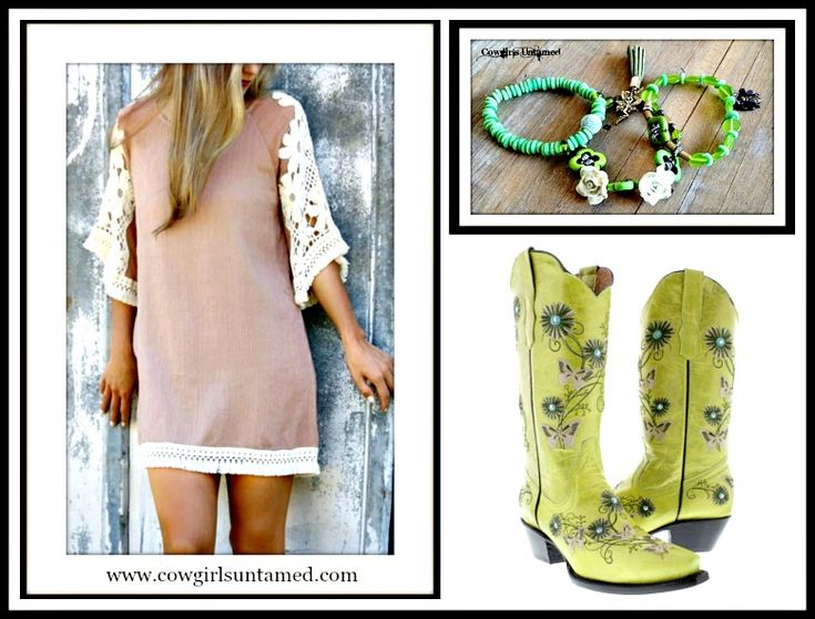 COWGIRL GYPSY BOOTS Rhinestone Studded Embroidered Beige n Brown Flower and Butterfly Green GENUINE LEATHER Boots/Bracelet Set/ Crochet Lace Sleeve Mocha Mini Dress  #boots #cowgirl #western #leather #ridingboots #cowgirlboots #cowboyboots #butterfly #embroidery #floral #boutique #style #fashion #lace #crochet #dress #green #bracelet #set #jewelry #wholesale #wedding  #onlineshopping