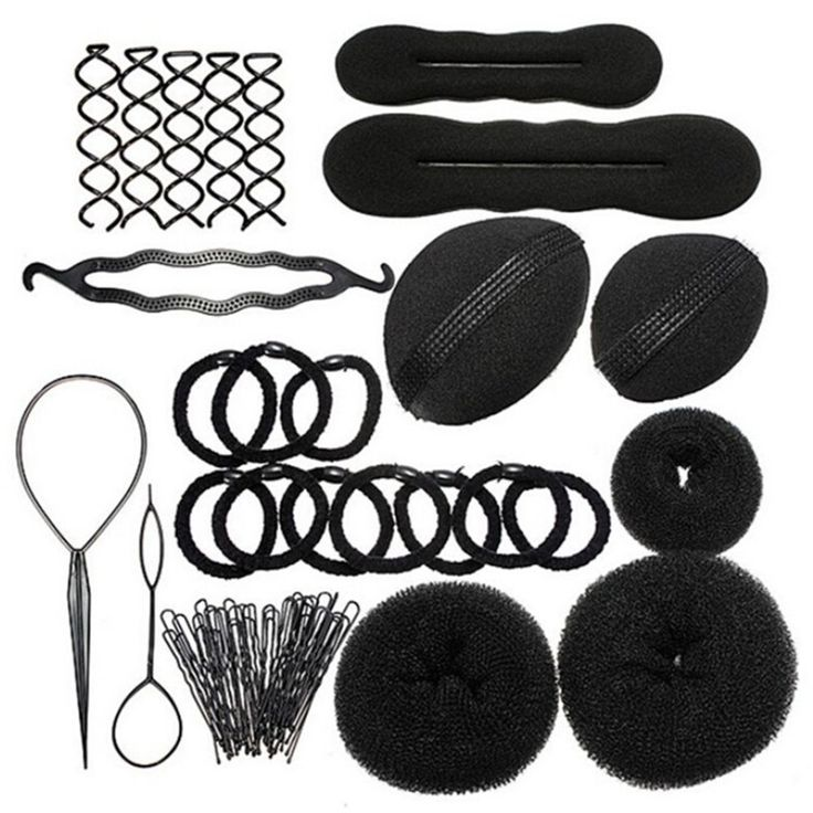 Sanwood Bun Maker Roller Braid Twist Elastics Pins Hair Design Styling Tools Kit ,Black (Black) ** Read more reviews of the product by visiting the link on the image.