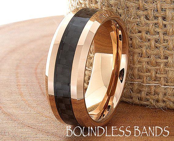 Tungsten Rose Gold Wedding Band Polished Beveled Edges 8mm Black Carbon Fiber…