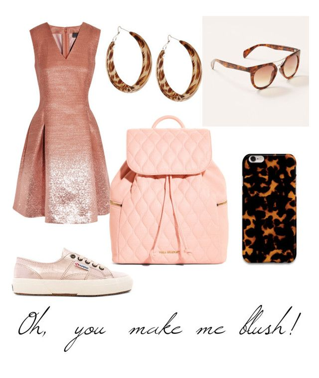 """Oh you make me blush"" by lilithowl on Polyvore featuring Fendi, Superga, LOFT, Samsung, Kenneth Jay Lane, Vera Bradley, Pink, metallic, tortoiseshell and blush"