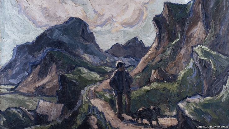 Detail from Kyffin Williams, Llwybr Iddew Mawr, c.1970  - On his death in September 2006 renowned Welsh artist Sir Kyffin Williams left a large part of his estate to the National Library of Wales. This oil painting, circa 1970, shows a farmer and his dog in the Moelwyn mountains of Snowdonia