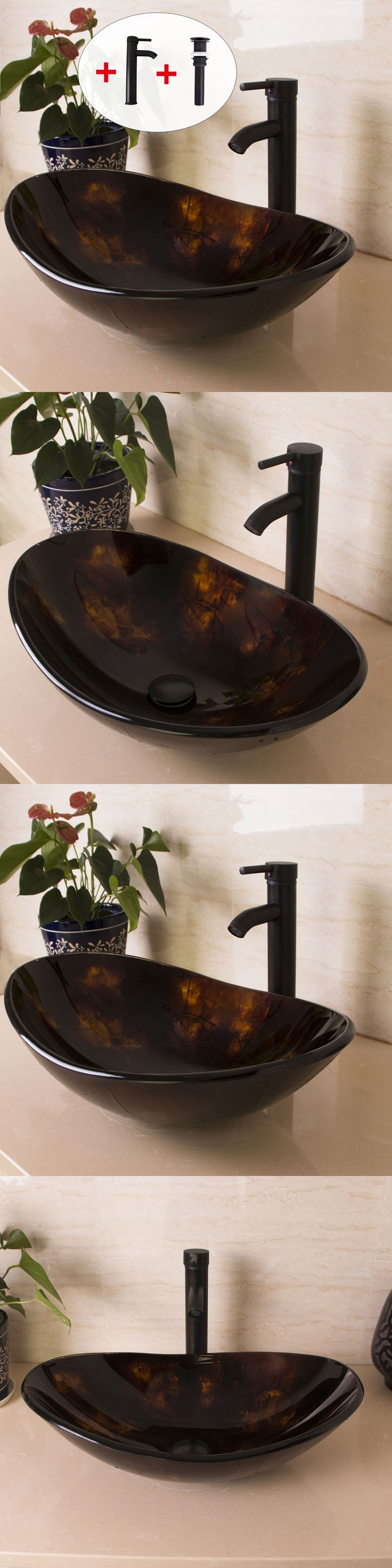 Sinks 71283 Bathroom Oval Glass Vessel Sink Oil Rubbed Bronze Faucet Popandup Drain Combo Set