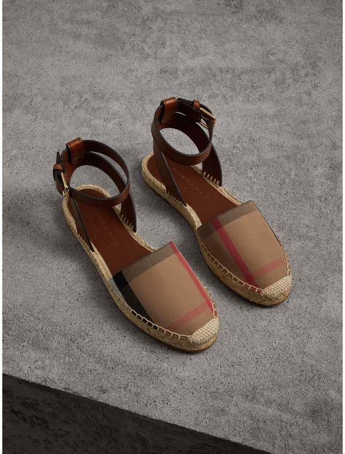 67d705a68a8 Burberry Leather and House Check Espadrille Sandals