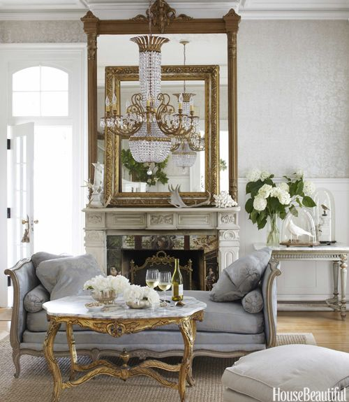 Lovely Living Room. French antiques; layered mirrors. Featured in House Beautiful Magazine