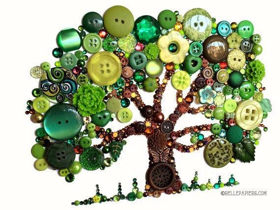 11x14 Button Tree of Life Button Art with Swarovski Rhinestones Button Oak Tree