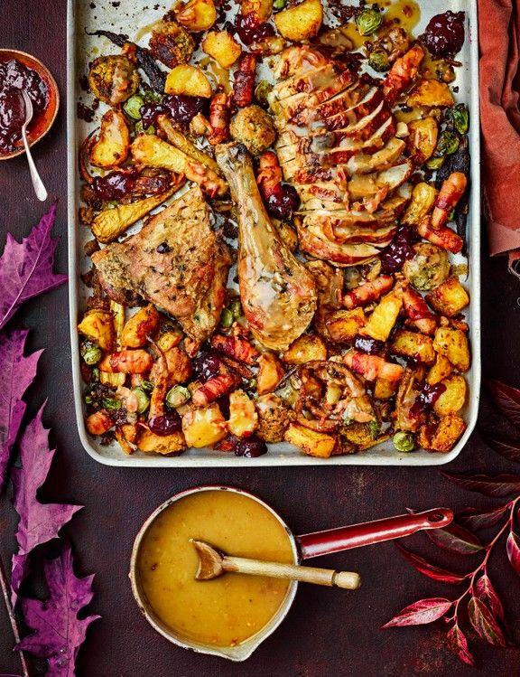 One Tray Christmas Dinner Recipe Christmas Food Dinner Christmas Dinner For A Crowd Easy Christmas Dinner