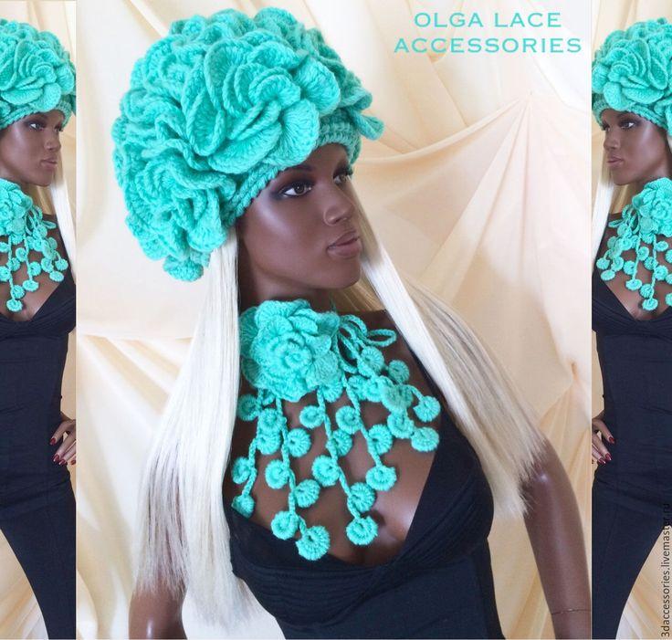 """Купить Вязаная шапка """"Flowers"""" от Olga Lace - вязаная шапка, цветочная шапка, шапка из цветов"""