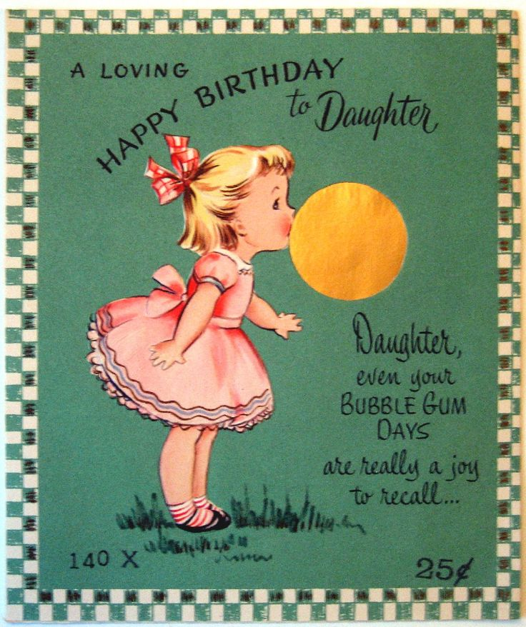 Vintage Birthday Card - A Loving Happy Birthday to Daughter