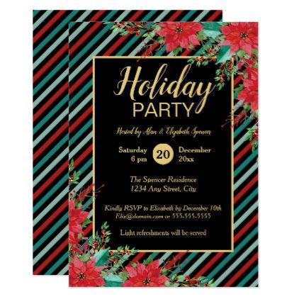 Holiday Party Poinsettia Floral Bold Stripes Card - holiday card diy personalize design template cyo cards idea