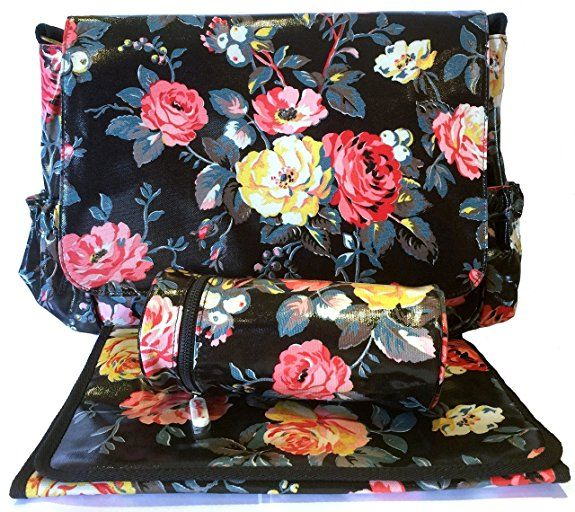 Cath Kidston New Oilcloth Garden Rose Baby Nappy Changing Bag In Charcoal