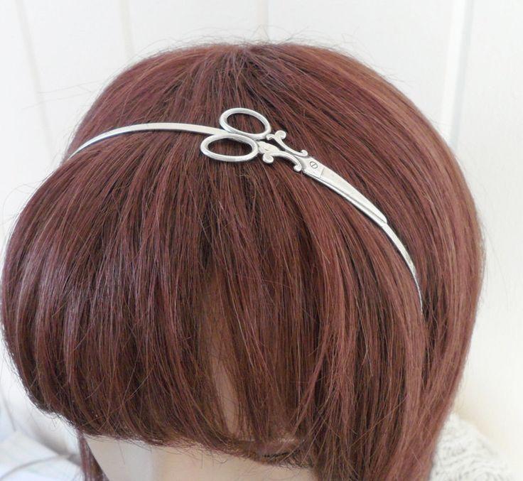 Steampunk Scissor Headband Metal Headband Silver by bellamantra, $22.00