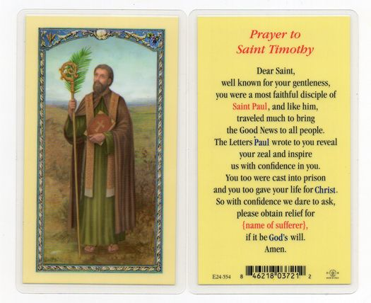 prayer card for st. timothy | card wholesale customers please login to order prayer to saint timothy ...
