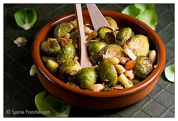 Roasted Brussels Sprouts With Almonds - a good source of fiber, vitamins k and c, can help lower cholesterol, antioxidant, anti-inflammatory, good for your heart, they are just really good for you okay?: Side Dishes, Sides Salads, Olives Oil, Almonds, Healthy Eating, Roasted Brussels Sprouts, Healthy Recipes, Favorite Recipes, Spicy Foodies