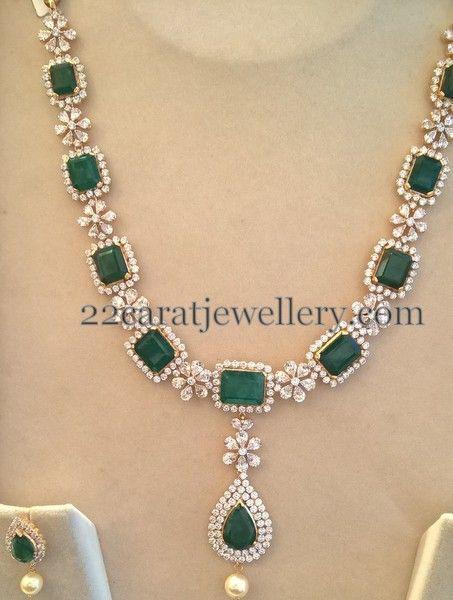 Jewellery Designs: Swarovski CZs and Emeralds Set