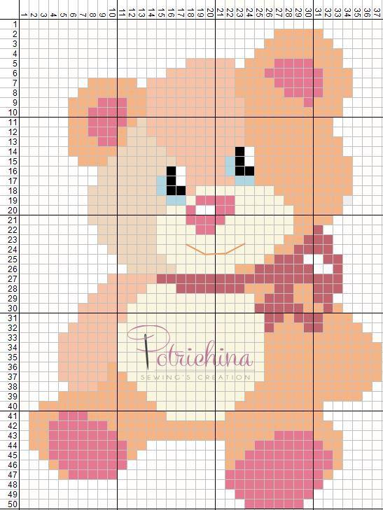 orsetta, orso - schema punto croce - cross Stitch - Kreuzstich - Punto de Cruz