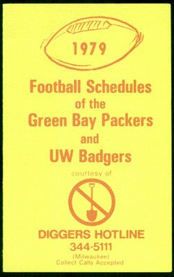 1979 GREEN BAY PACKERS WISCONSIN BADGERS DIGGERS HOTLINE FOOTBALL POCKET SCHEDULE