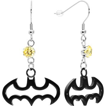 $18.99 Black IP Stainless Steel Batman Dangle Earrings