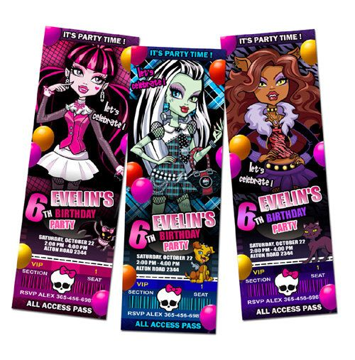 Monster High party Invitations by mimisal on Etsy, $11.99
