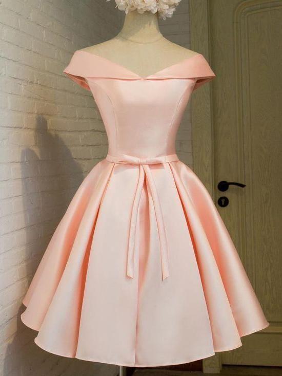 3eacb3adb1c Simple Off the Shoulder Blush Homecoming Dresses Cheap Graduation ...