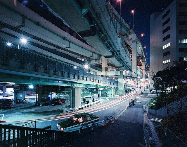 Under the massive expressway interchange outside Suitengumae Station, Tokyo