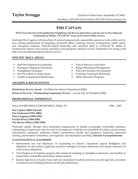 16 best Cv images on Pinterest Resume examples, Project - firefighter job description for resume