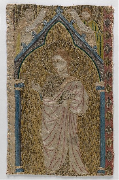 Fragment of an Orphrey 13th Century British Colored silks and gold thread on linen ground