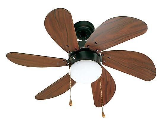 Ventilatore lampadario in acciaio e MDF marrone Palao - D 76 cm