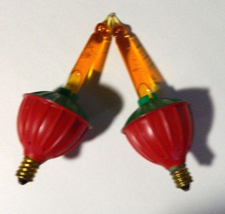 Vintage Orange Bubble Christmas Lights Set 2 Red Green Base Tested Work
