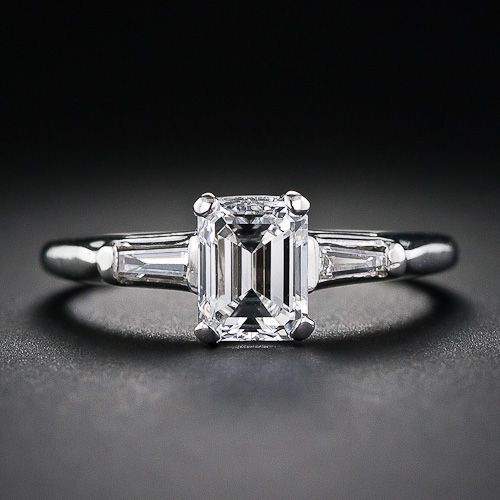 Vintage Emerald-Cut Diamond Ring with Tapered Baguette Diamond Sides (1950s)