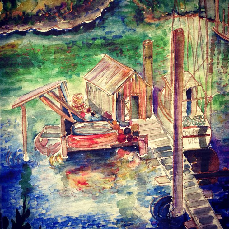 Lovely seaside fishing village, Courage at Nootka by artist Jill Louise Campbell.