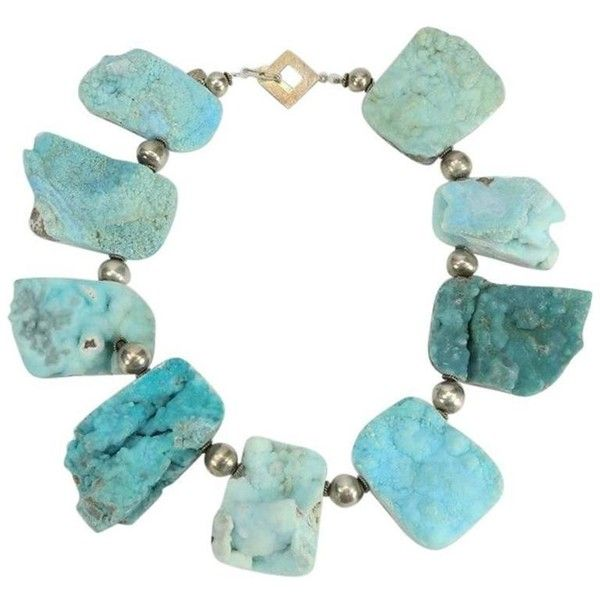 Preowned Natural Turquoise Druzy Quartz And Sterling Silver Necklace ($2,800) ❤ liked on Polyvore featuring jewelry, necklaces, blue, choker necklaces, beaded choker, turquoise bead necklace, sterling silver choker necklace, beaded necklaces and blue necklace
