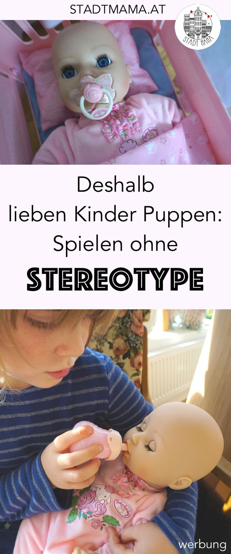 Bagger sind für Buben und Puppen nur für Mädchen? Weshalb alle Kinder gerne mit Puppen spielen sollen dürfen und was sie dabei lernen. Ganz ohne stereotype Rollenbilder. #spielen #mamablogger_at #mamablogger_de #stadtmama #puppen #babyannabell #spielzeug