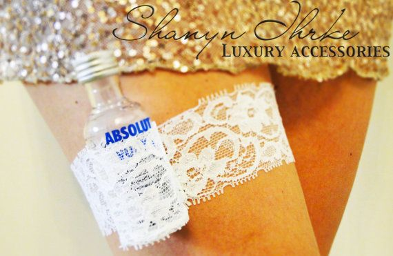 Flask Garter Lace Shot Garter: Bachelorette, Bride, Birthday Stretch Lace Garter @Shakari Jasmine