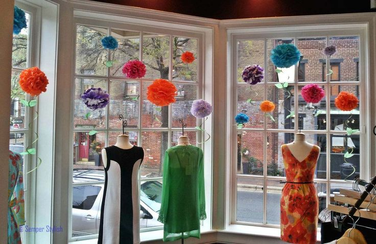 Boutique Display Ideas | Zoe Boutique window - love the pom poms