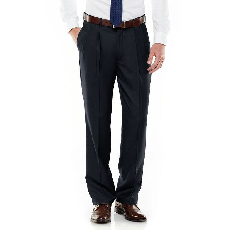 Men's Axist Ultra Series Fancy Straight-Fit Solid No-Iron Performance Pleated Dress Pants, Size: 38X30, Blue