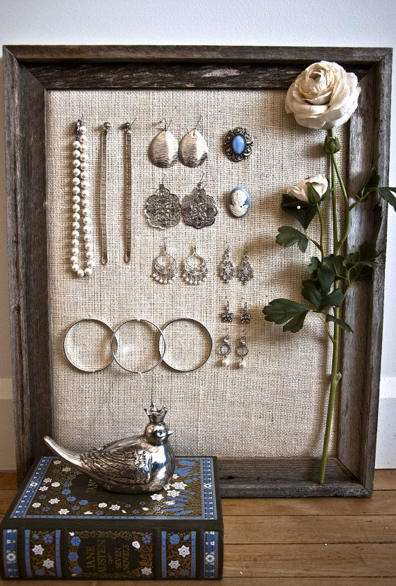 270 best organizing jewelry and vendor booths images on pinterest potentially could do myself old frame burlap and some pins solutioingenieria Images