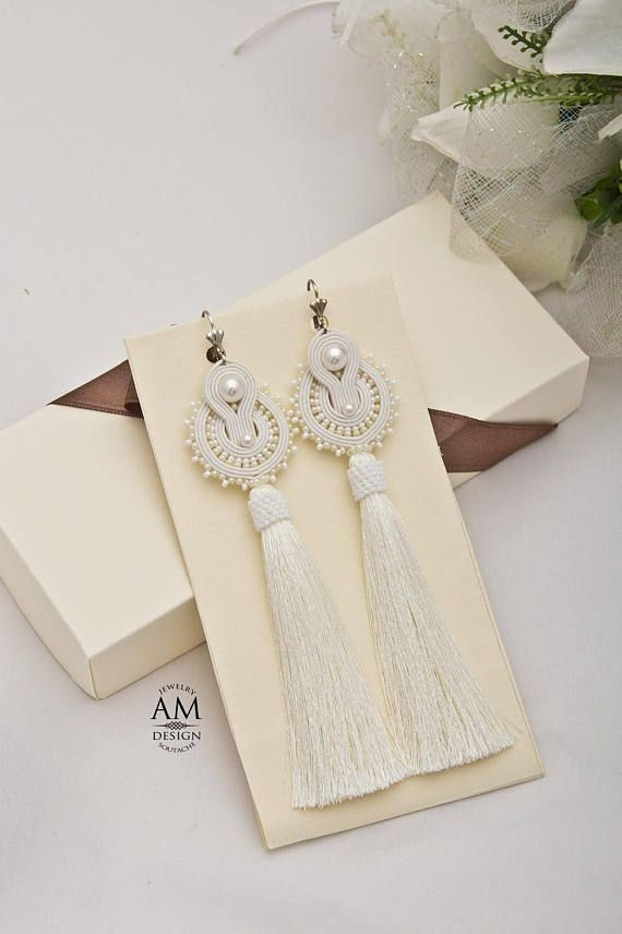 3d6348e14a62f White tassel earrings Wedding jewelry for bride Unique gifts ...