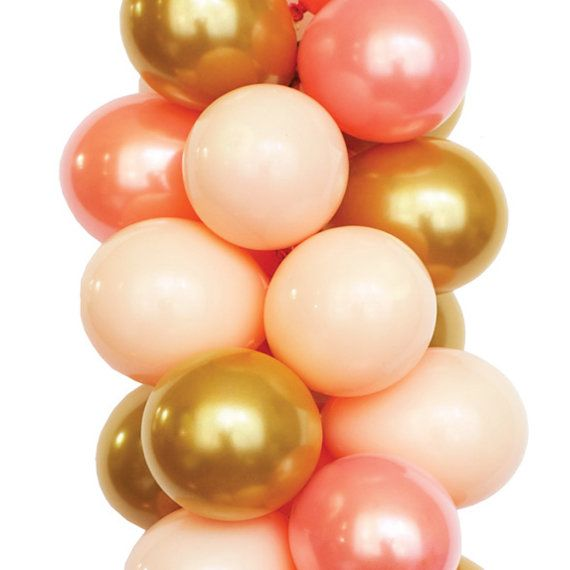 PEACHY BEACH  Pink Peach and Gold Latex by LuftBalloonStore