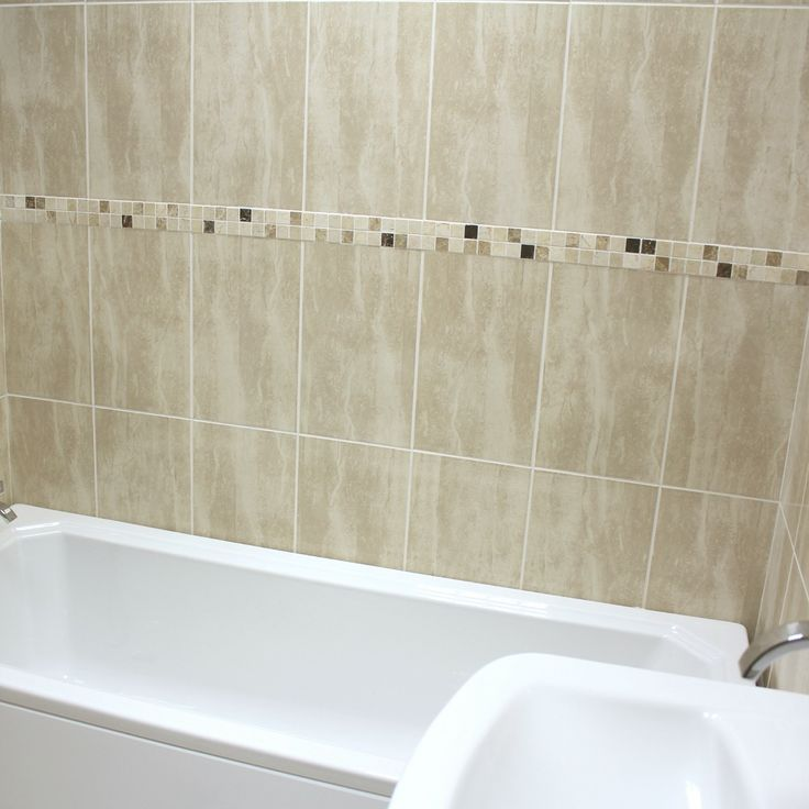 How Do You Tile A Bathroom Wall: A Gloss Cream Travertine Effect Ceramic Wall Tile, The