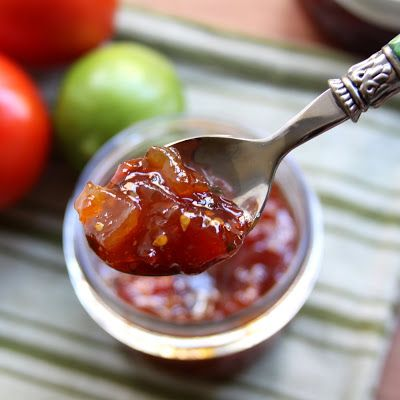 Cowboy Tomato Jam. Made with a pound of garden fresh tomatoes (peeled, cored and chopped), lime juice & zest, fresh ginger, whole Jalapeno (minced), cumin, black pepper, cinnamon and salt. From ShowFood Chef.