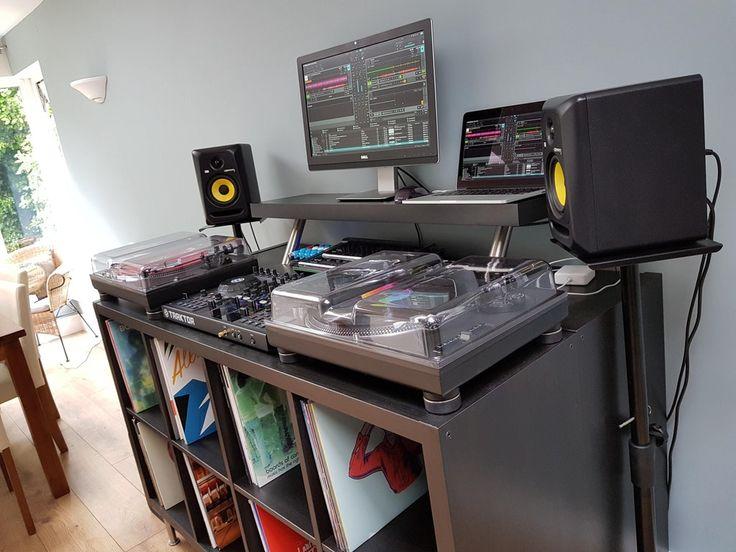 My DJ Setup (Technics 1210s, Traktor S4, Macbook Pro, KRK Rokit 5's & AE Sub, Midifighter 3D & Classic, Roland TR8) : MusicBattlestations