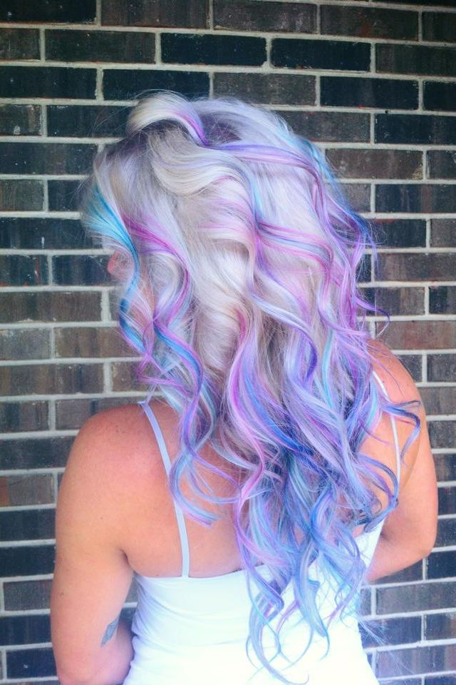 Platinum ombré with pink, purple, blue Paul Mitchell ink works