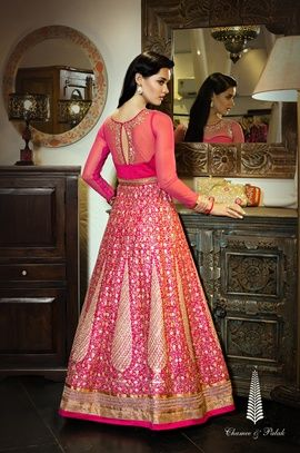 Bridal Wear - Rani Pink Lehenga | WedMeGood #Rani Pink Sheer Blouse and Rani Pink Lehenga with Gold Gota Patti Heavy Work. Find more bridal wear designs on wedmegood.com #wedmegood #bridal #wear #pink