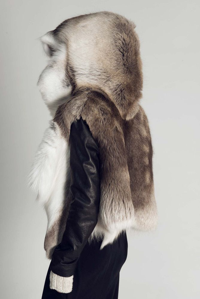 Titania Inglis Reindeer jacket | Made from a single reindeer hide | Made to order in New York | Sale helps to preserve the Sami tribespeople of northern Scandinavia's traditional way of life, as well as the forests of Lapland where they roam.